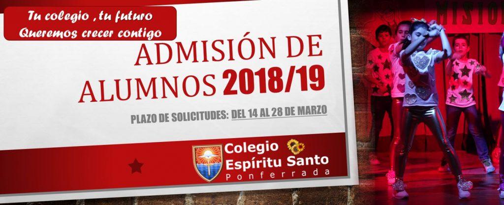 Admisión de alumnos curso 2018/2019