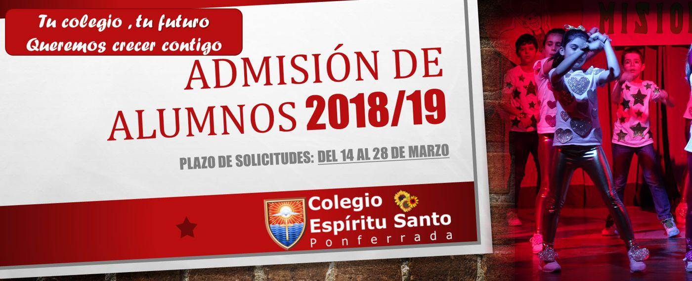 Admisión curso 2018-2019