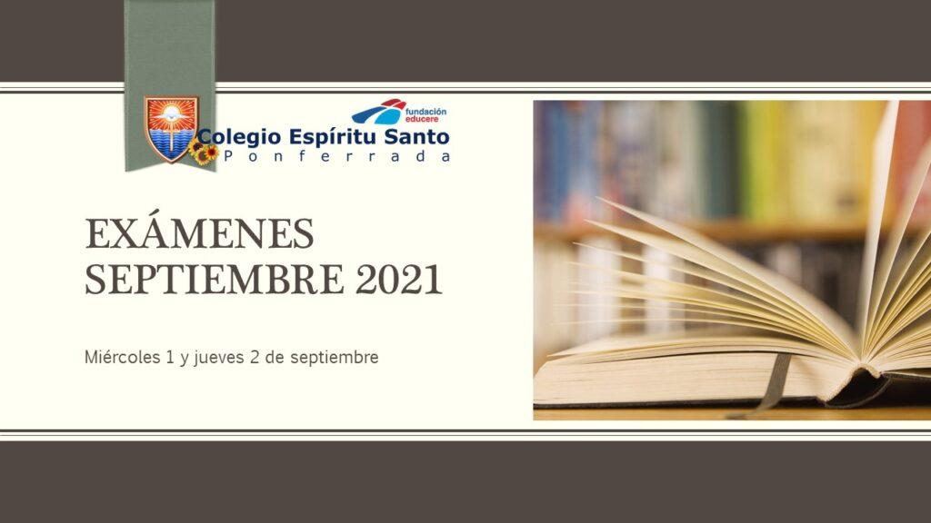 Exámenes de septiembre 2021